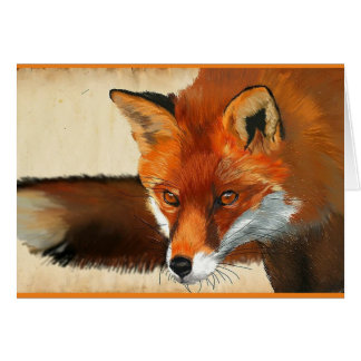 Blank little red fox greeting card