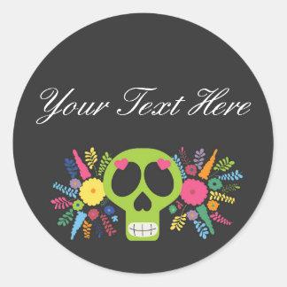 Blank Mexican Sugar Skull Custom Packaging Round Sticker