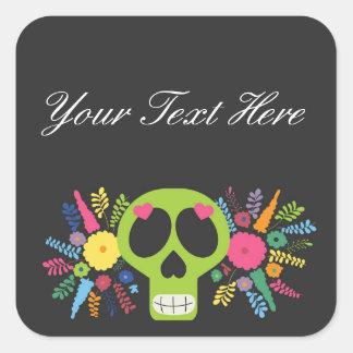 Blank Mexican Sugar Skull Custom Packaging Square Sticker