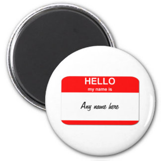 Blank name tag template 6 cm round magnet
