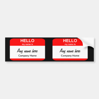Blank Name Tag Templates Bumper Sticker