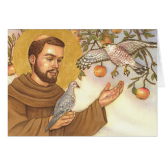 blank note card St Francis & birds