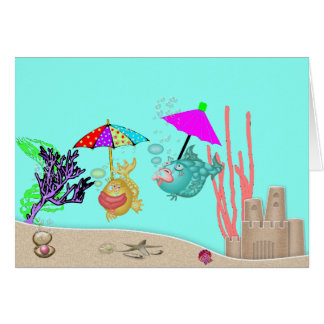 Blank Note Card w/2 Funny Fish & Umbrellas