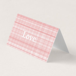 "Blank Pink Plaid ""Love"" Greeting Cards"