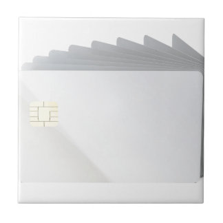 Blank plastic cards with chip ceramic tile