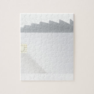 Blank plastic cards with chip jigsaw puzzle