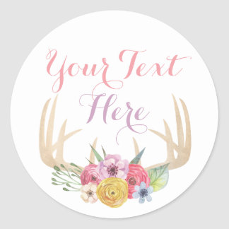 Blank Rustic Floral Antlers Chic Custom Packaging Round Sticker