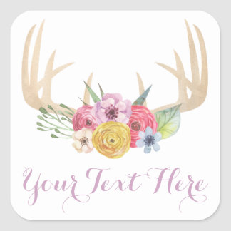 Blank Rustic Floral Antlers Chic Custom Packaging Square Sticker
