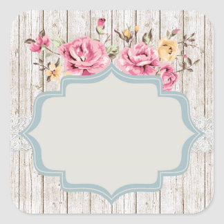 Blank Rustic Shabby Rose - Customisable Packaging Square Sticker