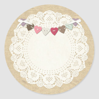 Blank Rustic Stitches Sewing Boutique Packaging Round Sticker