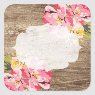 Blank Rustic Wood Flower - Customizable Packaging Square Sticker