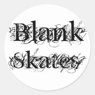 Blank, Skates Round Sticker