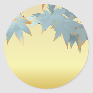 Blank Stylish Frosted Fall Japanese Maple Leaves Round Sticker