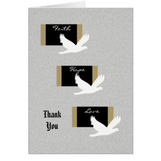 Blank Sympathy Thank You Note Card -- Doves