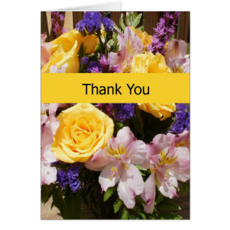Blank Thank You Note Card - Bright Flowers