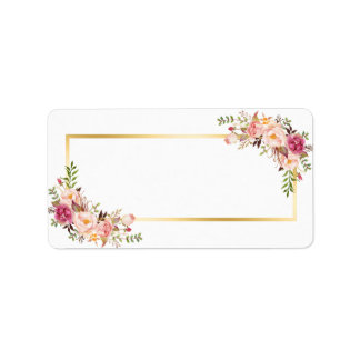 Blank Version- Elegant Chic Gold White Pink Floral Address Label
