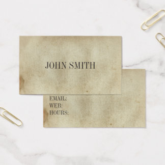 Blank Vintage Aged Stained Ancient Paper Business Card