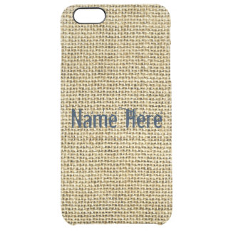Blank Vintage Beige Burlap Inspired Uncommon Clearly™ Deflector iPhone 6 Plus Case
