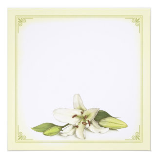 Blank White Lily Invitation Postcard