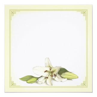 Blank White Lily Invitation / Postcard