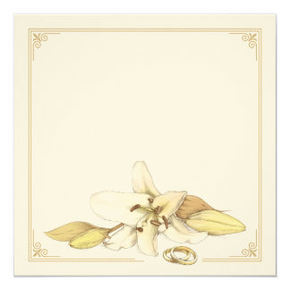 Blank White Lily Wedding Invitation
