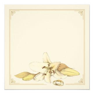 "Blank White Lily Wedding Invitation 5.25"" Square Invitation Card"