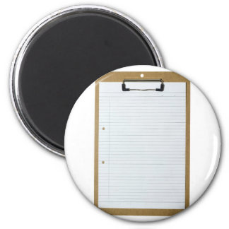 Blank writing paper on clipboard 6 cm round magnet