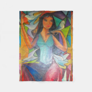 Blanket Colorful Stained Glass Graceful Madonna Fleece Blanket