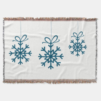 Blanket Throw with Teal Christmas Ornaments