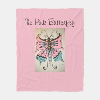 Blanket with a  Pink Butterfly on the front