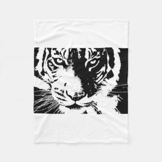 Blanket with black and white print Tiger