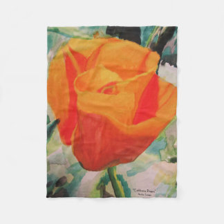 "Blanket with ""California Poppy"" by Amber Larsen"