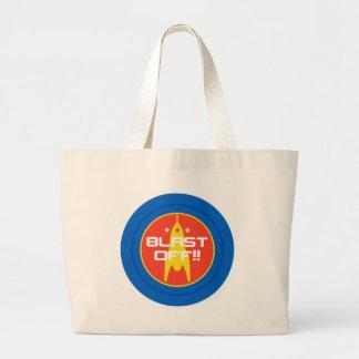 Blast Off!! Retro Science Fiction Space Rocket Tote Bag