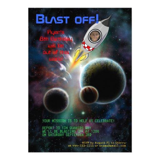 Blast Off! Rocket Birthday Invitation