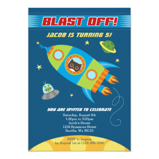 Blast Off Rocket Owl Birthday Invitation