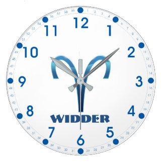 Blau Widder Aries Zodiac Large Clock