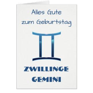 Blau Zwillinge Gemini Zodiac Geburtstag Card