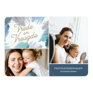 Blauwe Schilderij Kerstkaart Card