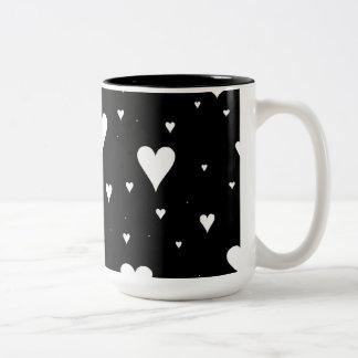 blavk and white hearts mug