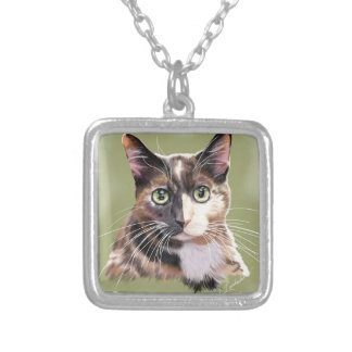 Blaze domestic short hair silver plated necklace