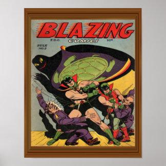 Blazing Comics Vintage Super Turtle Artwork Poster