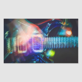 Blazing Electric Guitar Rectangular Sticker