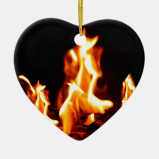 Blazing flames ceramic heart decoration