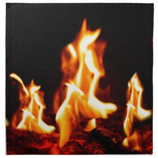 Blazing flames napkin