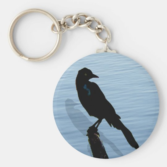 Blckbird by the water basic round button key ring