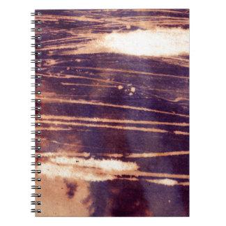 bleach scruffily / wet note books