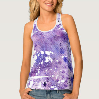 Bleached Look Purple Snake Skin Pattern Tank Top