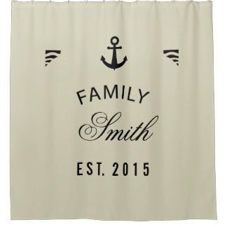 Bleached Sand Family Name Anchor Personalized Shower Curtain