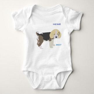 Bleagle dog enjoys walking baby bodysuit