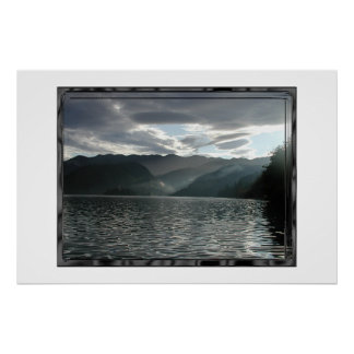 Bled lake, view in the dusk poster